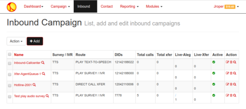 Screenshot of inbound campaign