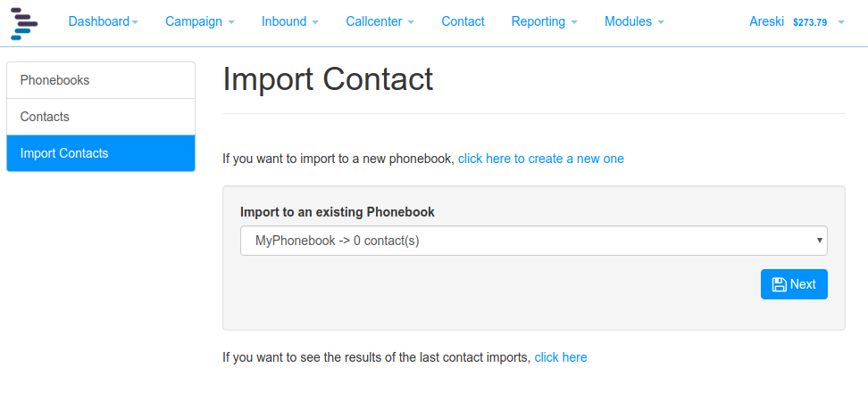 Import Contact Select Phonebook